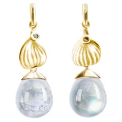 18 Karat Yellow Gold Cabochon Moonstone Contemporary Drop Earrings with Diamonds