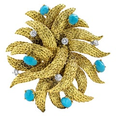 18 Karat Yellow Gold Cabochon Turquoise and Diamond Brooch