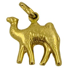 18 Karat Yellow Gold Camel Charm Pendant