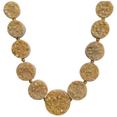 18 Karat Yellow Gold Camel Color Druzy Quartz Necklace