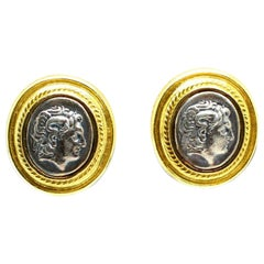 18 Karat Yellow Gold Cameo Style Earrings