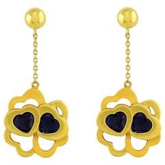 18 Karat Yellow Gold Carrera Y Carrera Dangle Heart Earrings