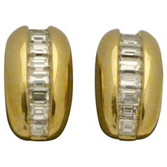 "18 Karat Yellow Gold Cartier Diamond Earrings, from the ""Odin"" Collection"