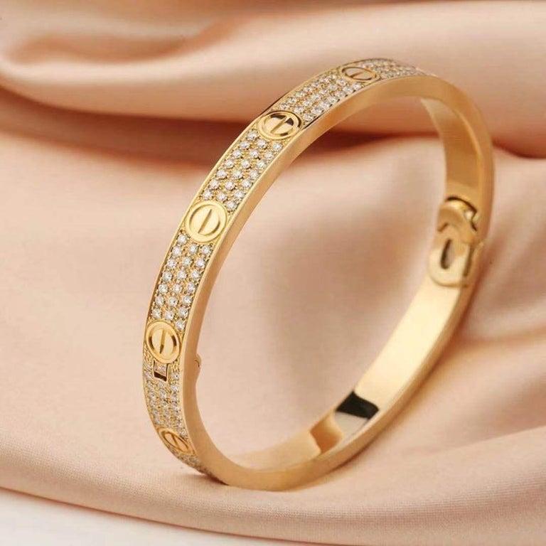 Brilliant Cut 18 Karat Yellow Gold Cartier Love Bracelet with Pave Diamonds For Sale
