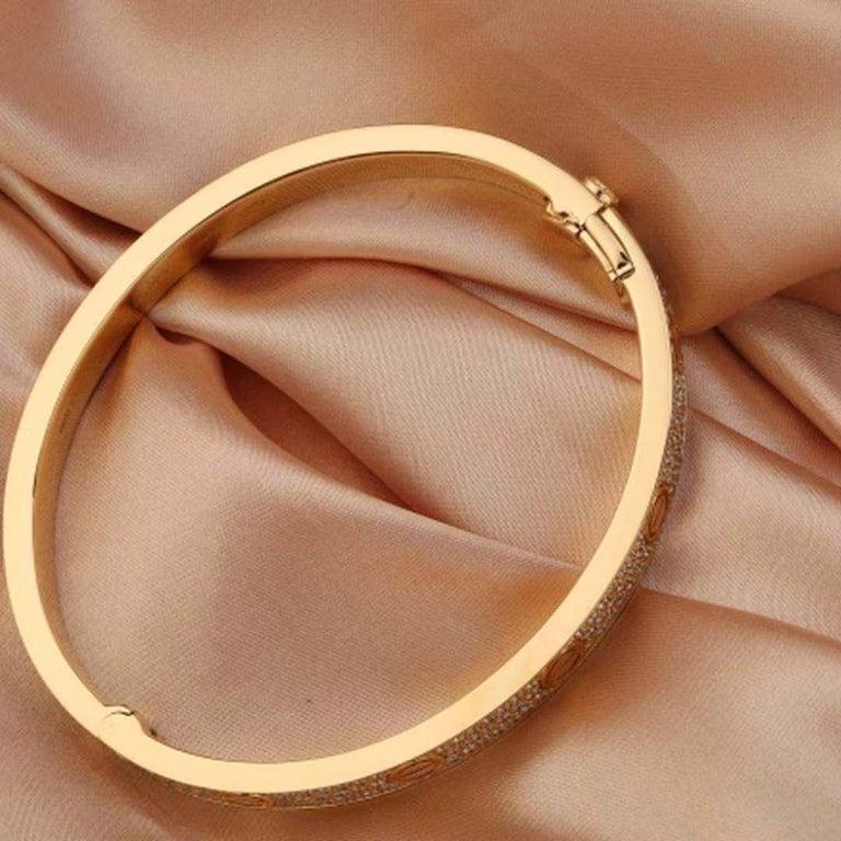 Women's or Men's 18 Karat Yellow Gold Cartier Love Bracelet with Pave Diamonds For Sale