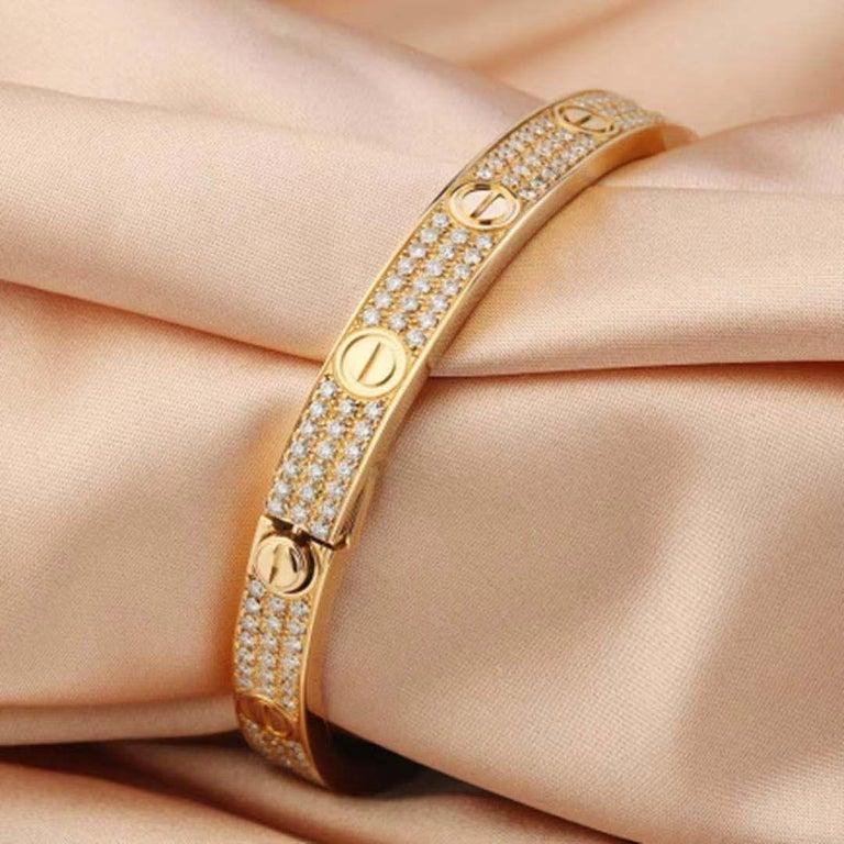 18 Karat Yellow Gold Cartier Love Bracelet with Pave Diamonds For Sale 2