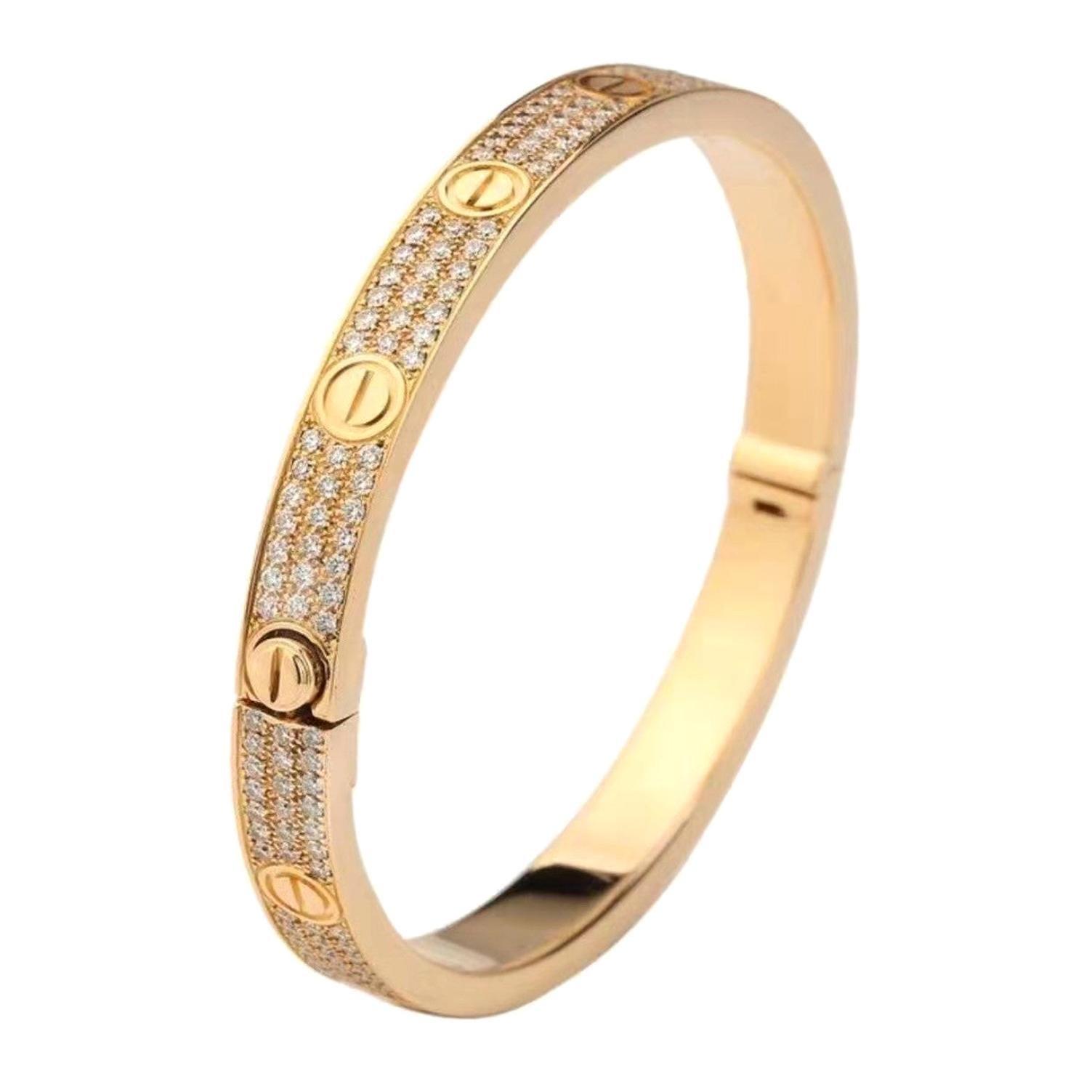 18 Karat Yellow Gold Cartier Love Bracelet with Pave Diamonds
