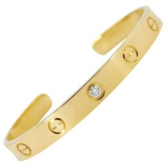 18 Karat Yellow Gold Cartier Love Cuff Open Bracelet