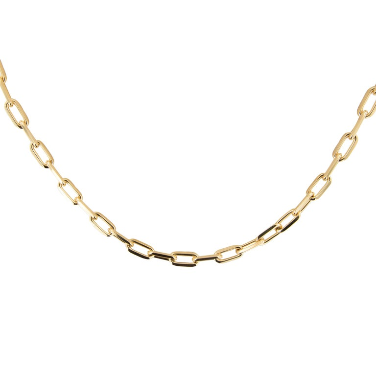 18 Karat Yellow Gold Cartier Santos-Dumont Chain Necklace with Box & Papers In Excellent Condition In Troy, MI
