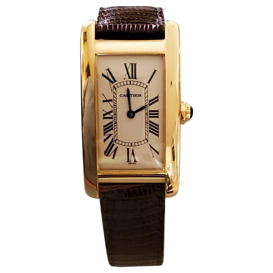 18 Karat Yellow Gold Cartier Watch, Tank Americaine, Quartz, Excellent