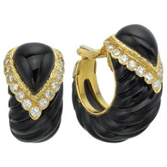18 Karat Yellow Gold Carved Black Onyx with Diamond Hoops