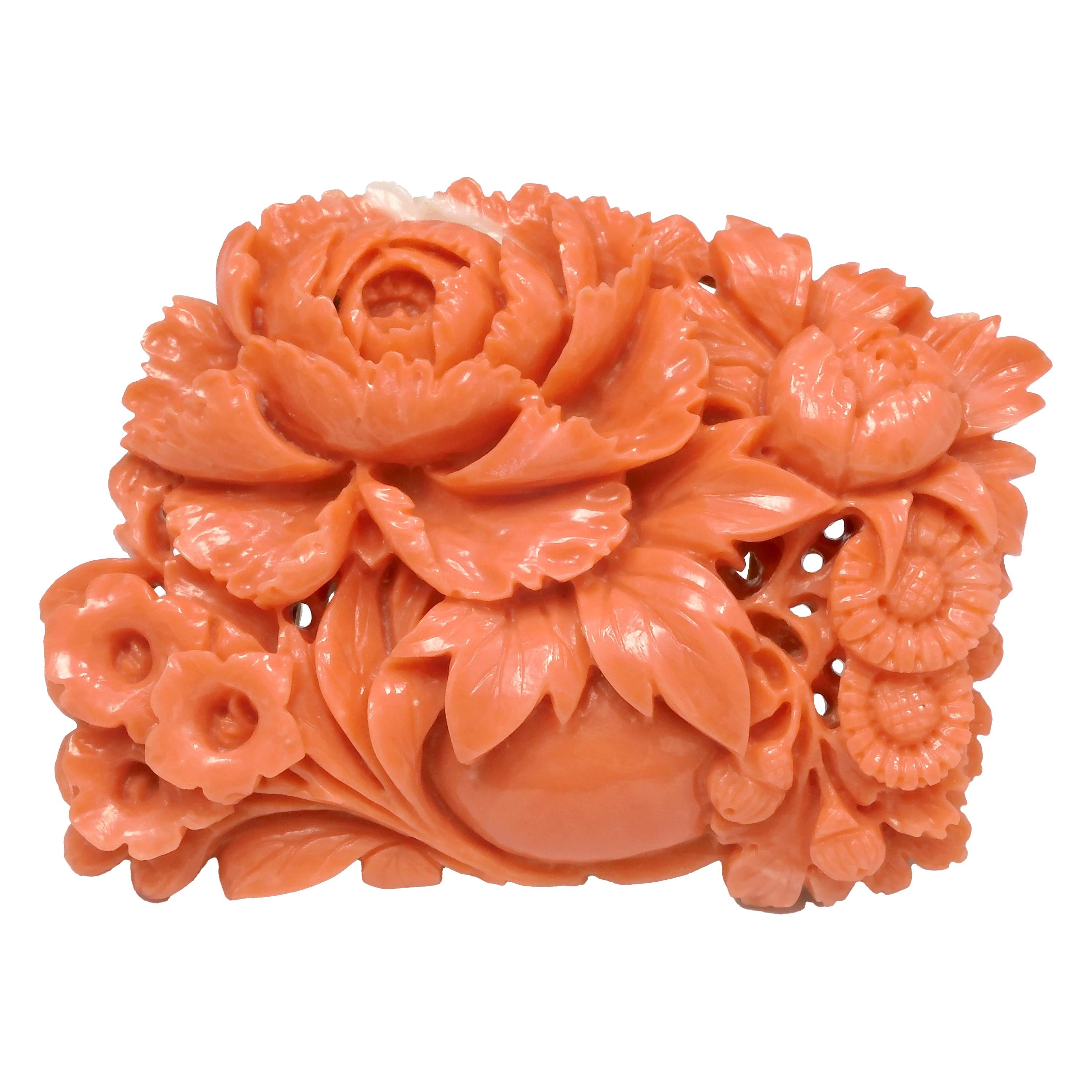 18 Karat Yellow Gold Carved Flower Brooch Crafted with Momoiro Sango Coral