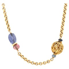 18 Karat Yellow Gold Carved Multi Gemstone and Bead Station Necklace