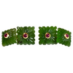 18 Karat Yellow Gold Carved Squared Jade and Rubies Cufflinks