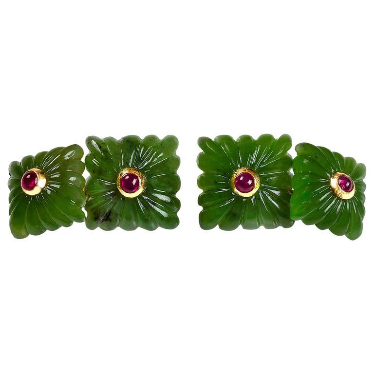 18 Karat Yellow Gold Carved Squared Jade and Rubies Cufflinks For Sale
