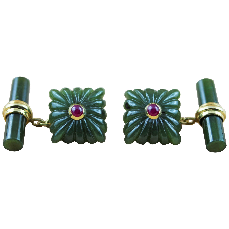 18 Karat Yellow Gold Carved Squared Jade Ruby Gold Cufflinks