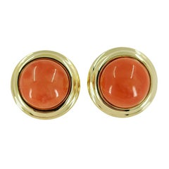 18 Karat Yellow Gold Cellino Coral Cabochon Stud Earrings