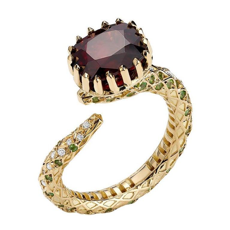 18 Karat Yellow Gold Certified Burmese Spinel Tsavorites Snake Cocktail Ring For Sale