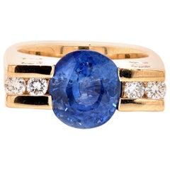18 Karat Yellow Gold Ceylon Sapphire and Diamond Ring