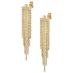 18 Karat Yellow Gold Chain Fringe and Diamond Stud Earrings