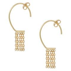 18 Karat Yellow Gold Chain Fringe Small Oval Hoop Earrings