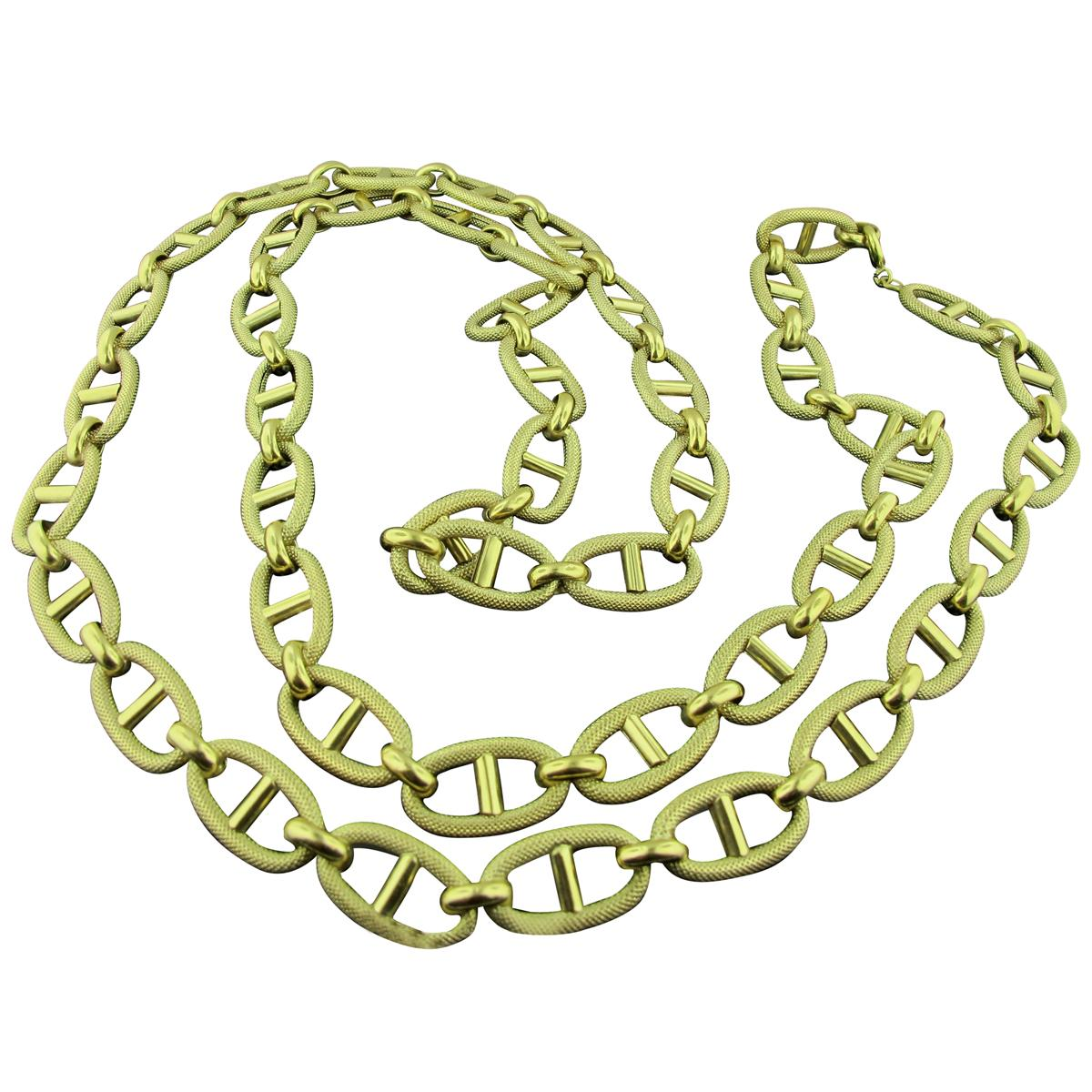 18 Karat Yellow Gold Chain Link Necklace