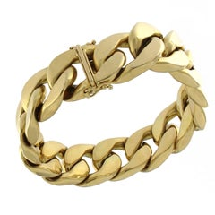 18 Karat Yellow Gold Chain Massif Effect Bracelet