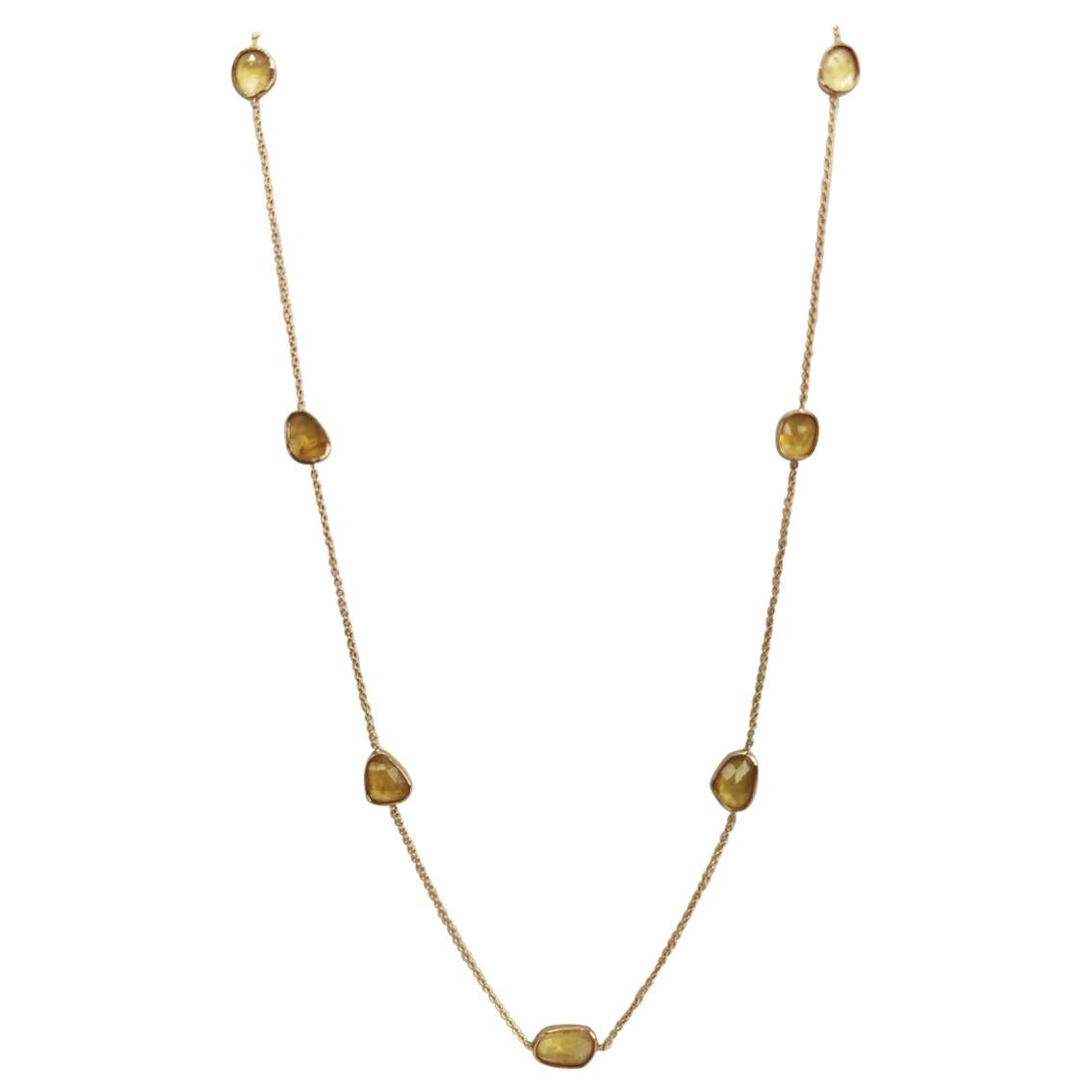 18 Karat Yellow Gold Chain Set with Rosecuts Yellow Sapphire by Marion Jeantet