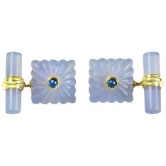 18 Karat Yellow Gold Chalcedony Sapphires Carved Squared Cufflinks
