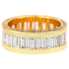 18 Karat Yellow Gold Channel Set with Diamonds Wedding Band