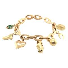 18 Karat Yellow Gold Charm Bracelet