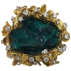 18 Karat Yellow Gold Chatham Emerald Crystals Ring with Diamonds