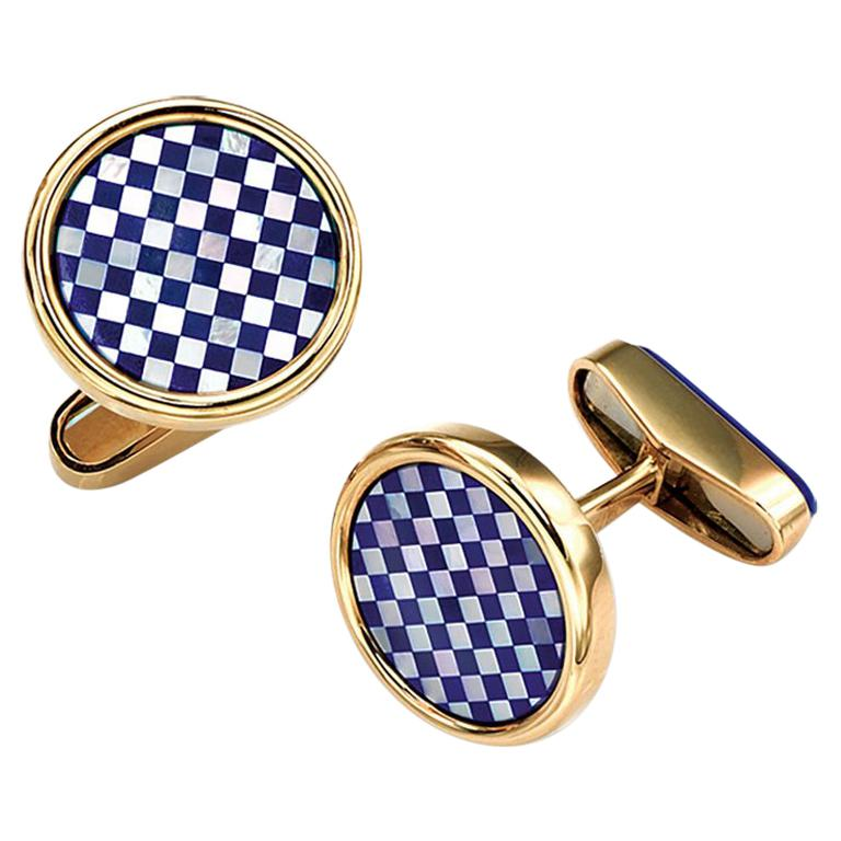 18 Karat Yellow Gold Checkerbord Lapis and Mother-of-Pearl Cufflinks For Sale