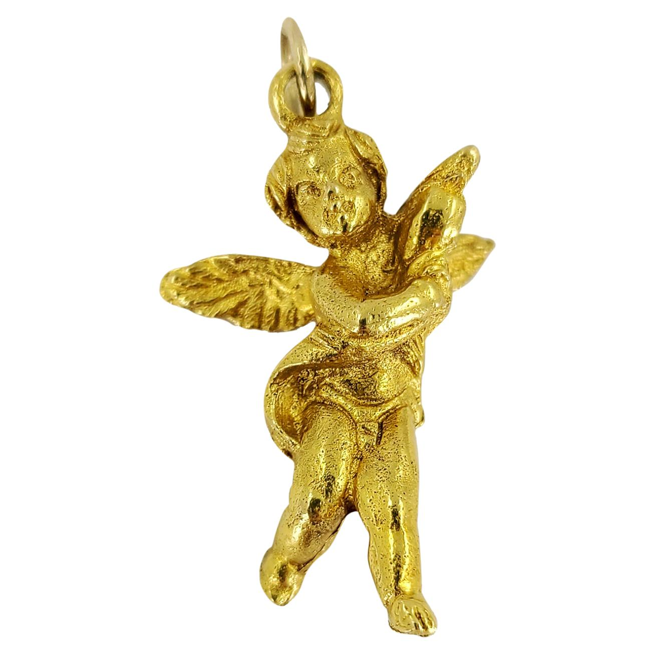 18 Karat Yellow Gold Cherub Charm Pendant