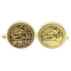 18 Karat Yellow Gold Chinese Coin Cufflinks