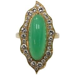 18 Karat Yellow Gold Chrysophrase and Diamond Ring