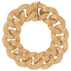 18 Karat Yellow Gold Chunky Curb Link Bracelet
