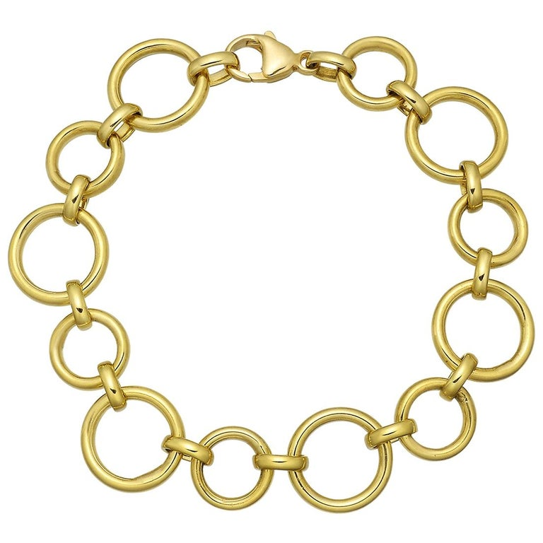 18 Karat Yellow Gold Circle Link Bracelet For Sale