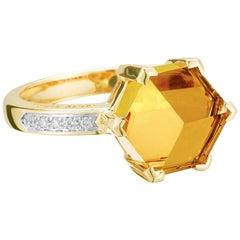 Paolo Costagli 18 Karat Yellow Gold Citrine 2.71 Carat Brillante Valentina Ring