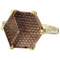 18 Karat Yellow Gold Citrine 6.50 Carat and Diamond Brillante Valentina Ring
