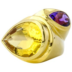 18 Karat Yellow Gold Citrine Amethyst Fashion Statement Ring