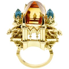 18 Karat Yellow Gold Citrine and Aquamarine Cathedral Ring