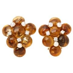 18 Karat Yellow Gold Citrine and Diamond Earrings