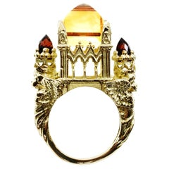 18 Karat Yellow Gold Citrine and Garnet Cathedral Ring