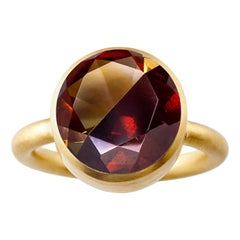 18 Karat Yellow Gold Citrine and Garnet Two-Stone Modern Cocktail Ring