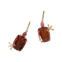 Sharon Khazzam 18 Karat Yellow Gold Citrine and Red Spinel Bee Earrings