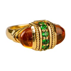 18 Karat Yellow Gold Citrine and Tsavorite Garnet Ring