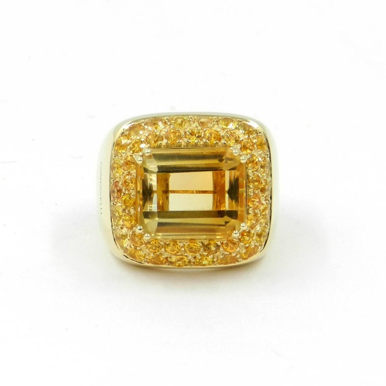 Contemporary 18 Karat Yellow Gold Citrine and Yellow Sapphires Garavelli Ring For Sale