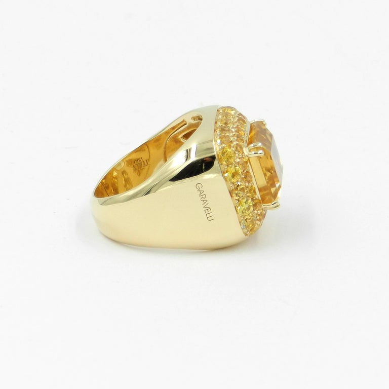 Women's 18 Karat Yellow Gold Citrine and Yellow Sapphires Garavelli Ring For Sale