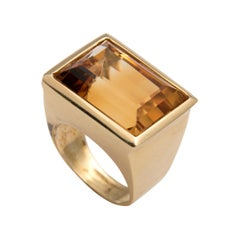18 Karat Yellow Gold Citrine Chevalliere Ring